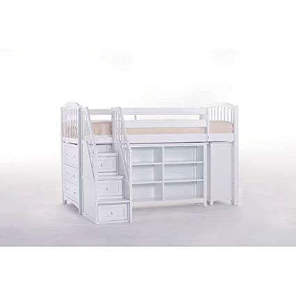 Charmant NE Kids Schoolhouse Storage Junior Loft Bed With Stairs   White