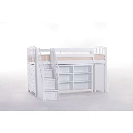 Storage Junior Loft Bed With Stairs In White
