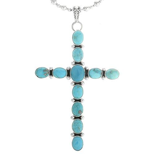 Navajo Turquoise Cross Pendant Hammered Sterling Design 0062