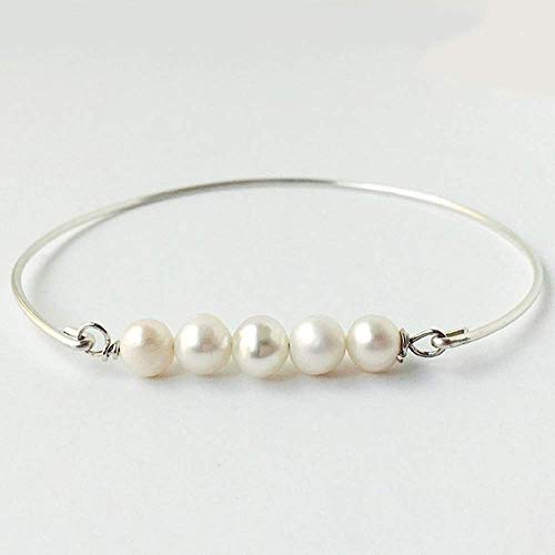 Frosted Willow Cultured Freshwater Pearl Bracelet Bride Jewelry Bridesmaid Gift Silver-Filled 8 ()