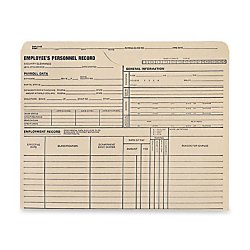 Quality Park Top-Tab Employee's Personnel Record Files, 1 1/2in. Expansion, 9 1/2in. x 11 3/4in, Manila, Box of 25 Files