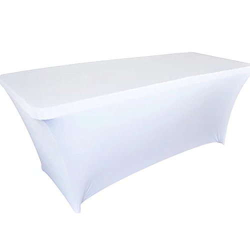 LOVWY Double Hemmed 8 FT Rectangular Table Cover Spandex Fabric Tablecloth Stretch Bar Bistro for Wedding party Decorations (8 FT, White) (Covers Bistro Chair)