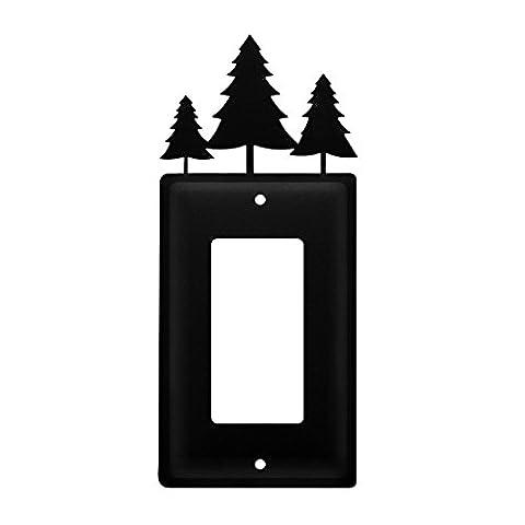 Iron Pine Trees Single Modern Switch Cover - Black Metal (Cast Iron Single Rocker)