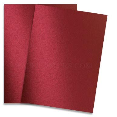 Shimmer Red Satin 8-1/2-x-14 32T Lightweight Multi-use Paper 200-pk - PaperPapers 2pBasics 118 GSM (32/80lb Text) Legal Size Everyday Metallic Paper for Professionals, Designers, Crafters and DIY by 2pBasics