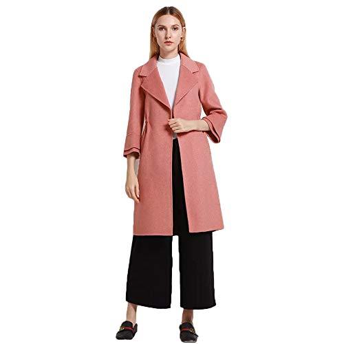 Mujer Cara Parka Solapa Largo Overcoat Solo 3 Escudo Trinchera De En pink Cachemira Doble Botón Con Colores m Un Para Outwear Abrigo A0nqtA