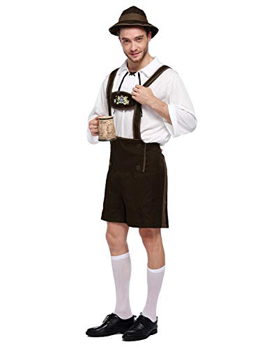 (Quesera Men's Oktoberfest Costume Set German Bavarian Guy Outfits Lederhosen Kit, Coffee, Tag Size 2XL=US Size L)