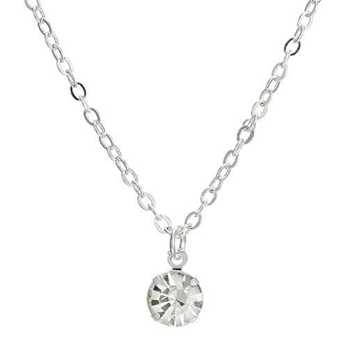 Multifaceted Cut Around Crystal Alloy Wedding Commemorative Pendant Necklace Jewelry,Silver