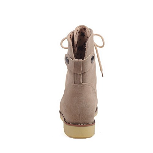 Toe Heels Boots up Beige Lace Solid PU Women's Round Low AgooLar wIqgEE