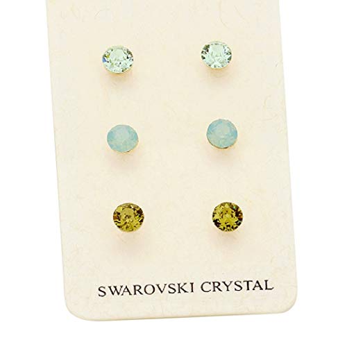 (Rosemarie Collections Women's 3 Pairs Pretty 7mm Stud Earrings Made with Swarovski Crystals (Green))