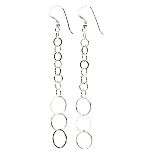 Sterling Silver Flat, Round Open Circle Links Long Earrings ()
