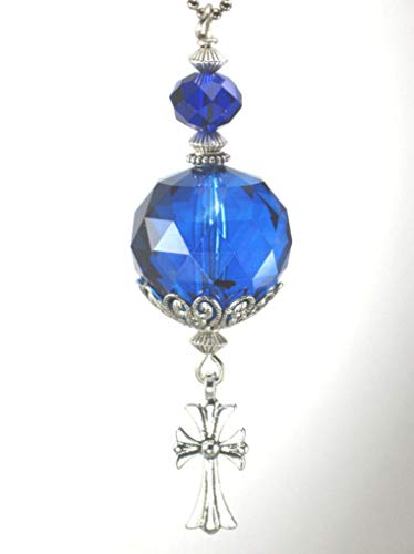 - Trace Ellements Large Faceted Cobalt Blue Crystal Glass Ball with Cross Rear View Mirror Car Ornament Charm
