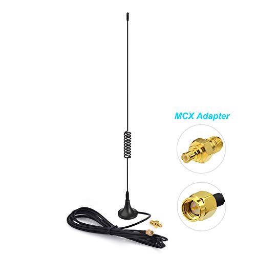 Bingfu 100MHz-1800MHz 1090MHz UHF VHF HF 5dBi Magnetic Base SMA Male MCX Antenna for RTL SDR Software Defined Radio Aviation ADS-B Receiver USB Stick Dongle Handheld RF Explorer Spectrum Analyzer