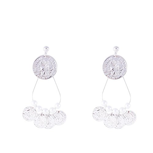 Yeefant 1 Pair Fashion Coin Pendant Shaped Steel Stud Diamond Jewelry Earring for Girl,Silver (Sterling Silver Skull Coin Set)