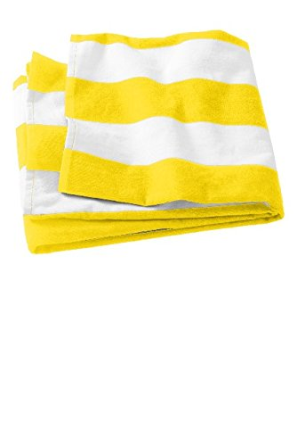 Port & Company Cabana Stripe Beach Towel PT43 Sunflower Yellow One Size (Shirt Stripe Cabana)