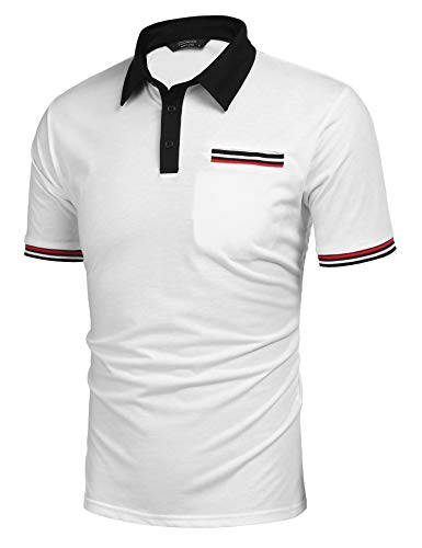 COOFANDY Men's Striped Short Sleeve Polo Shirt Regular Fit Golf Polo Shirt White