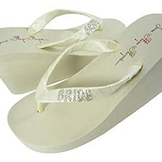 78108ac2f Customizable Glitter Bride Wedge Flip Flops Wedding Sandals Ivory White in.