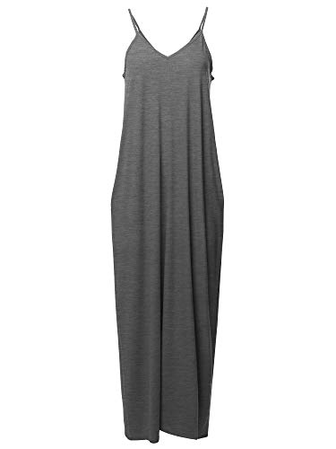Casual Premium Adjustable Strap Side Pockets Loose Long Maxi Dress Charcoal ()