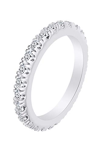 AFFY 14k White Gold Over Sterling Silver Round Shape Lab Grown Diamond Stack Band Ring (1.02 Cttw) Size 5