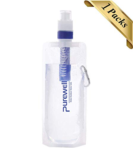 Collapsible Water Filter Canteens for Hiking, Water Bag/Bottle with Filter, Squeeze Water Through a Filter, Lightweight, BPA Free, Leak Proof, Emergency Preparedness (White)