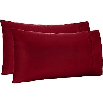 AmazonBasics Light-Weight Microfiber Pillowcases - 2-Pack, King, Burgundy