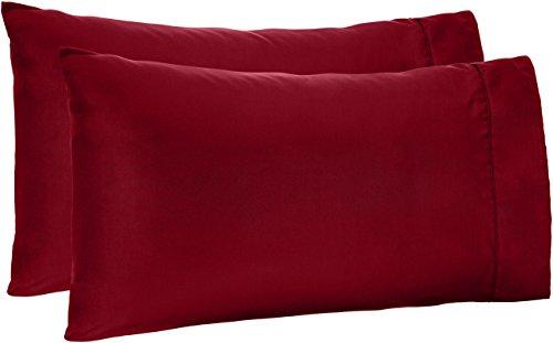 AmazonBasics Microfiber Pillowcases - 2-Pack, Standard, Burgundy