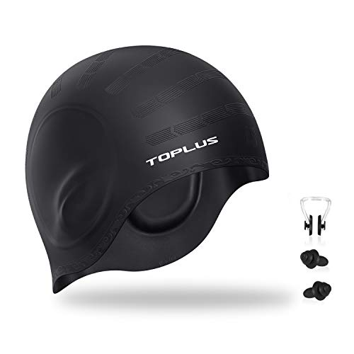 TOPLUS Swim Cap, Silicone Swimming Cap for Women Men Long Hair - 3D Ergonomic Design Comfortable and Durable Comes with Nose Clip & Ear Plugs - Black (Best Waterproof Swim Cap For Long Hair)