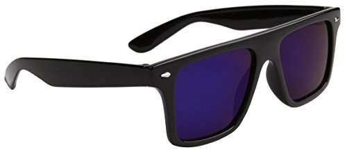 8088 Futuristic Modern Wayfarer, Flat Lens Partial Rear View, Gloss Black Frame (Indigo Flash - Lenses Flash Folding Wayfarer