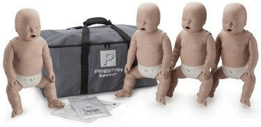 4-Pack of Infant CPR Manikins with Compression Rate Monitors by Prestan, Medium Skin Tone - Ms Airways