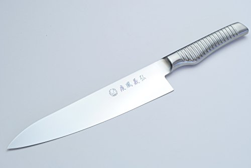 Yoshihiro Hayate Inox Aus-8 Gyuto Japanese Chefs Knife Integrated Stainless Handle 9.5 Inch by Yoshihiro