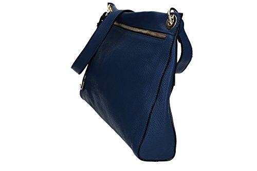 Tasche damen mit schultergurt PIERRE CARDIN blau leder Made in Italy VN1179