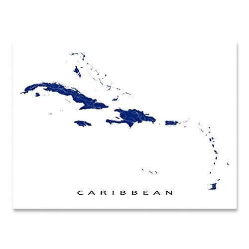 Caribbean Map Print, Islands Art, Cuba, Jamaica, Puerto Rico, Bahamas