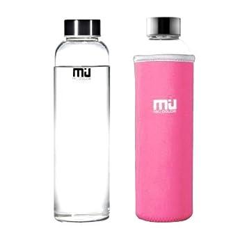 Miu Color – 12/18,5 oz botella de agua de cristal, cristal