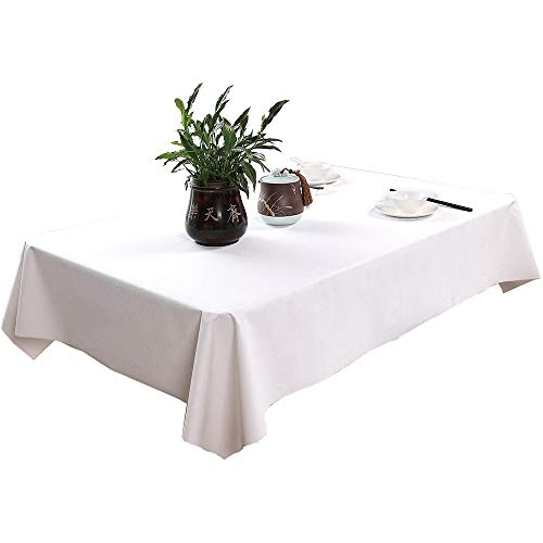 AZALCO 10 pcs Premium Disposable Plastic Stone White Plastic Tablecloths Square for Restaurant (55)