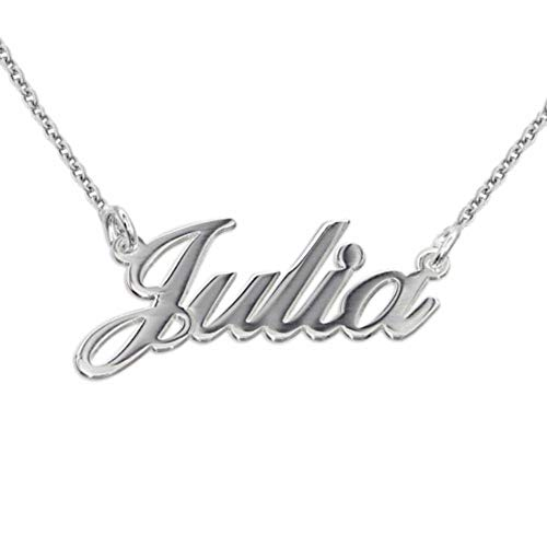 MyNameNecklace Personalized Small Name Necklace - Custom Made Nameplate Pendant Precious Metals Sterling Silver 925 Jewelry for Women Girls Teen
