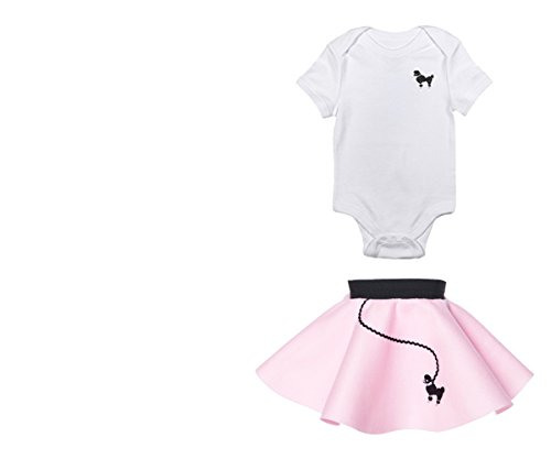 Baby 50s Costumes (Hip Hop 50s Shop Infant Poodle Skirt 2 Piece Costume Set (6 Months, Light Pink))