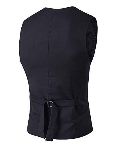 Button V Mens Partito Sportiva Vest Down Schwarz Casuale Slim Suit Blazer Abbigliamento collo Uomo Giacca Monopetto Gilet Colletto Xddpw