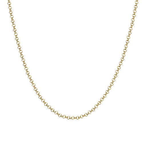 - TousiAttar 14k Rose and Yellow Gold-Filled Rollo Chain Necklace Pendant 16''-18'' Width 1.4 MM (Yellow, 16)