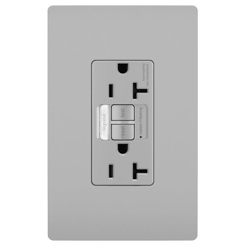 Legrand - Pass & Seymour radiant 2097NTLTRGRY Tamper-Resistant 20 Amp Night Light/Self-Test GFCI Outlet, Gray