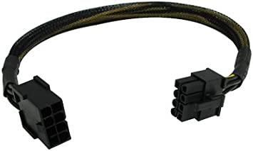 JacobsParts 8-Inch 8 pin PCI Express PCI-E Power Extension Cable for Video Card