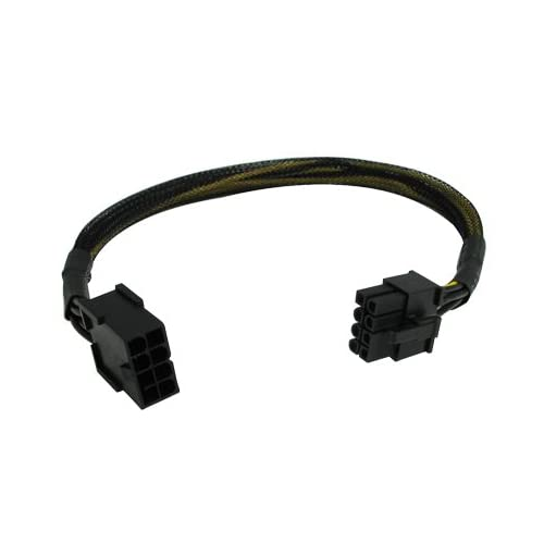 """12"""" 8-Pin PCI-Express PCI-E Video Card Power Male to Female Extension Cable with Black Sleeve"""