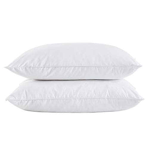 puredown Standard Size Soft Down Feather Bed Pillows Sleeping Washable-Standard/Queen Size-2 packs-100% Cotton Cover