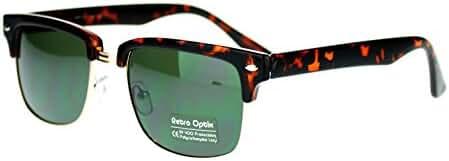 Tortoise Shell Square Half Rim Retro Style Sunglasses with Smoke Lens