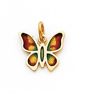 Quality Gold Multi Enameled Butterfly Charm, 14K Yellow ()
