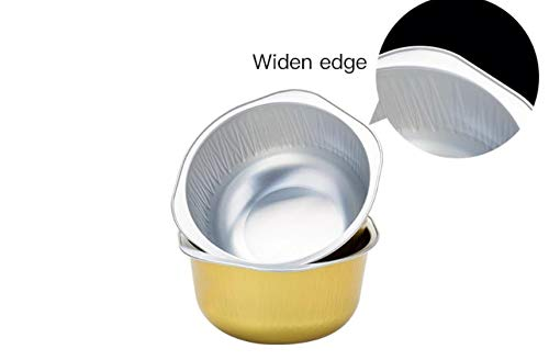 KEISEN 4 4/5 Inch 445ml 15oz Disposable Aluminum Foil Cups For Muffin Cupcake Baking Bake Utility Ramekin Cup (gold, 100) by Keisen (Image #2)