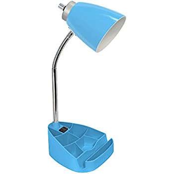 Desk Lamp Organizer With Usb Charging Port Blue Chrome