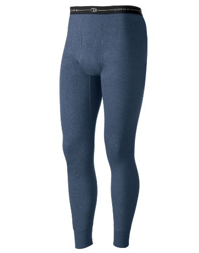 Duofold Men's Mid Weight Double Layer Thermal Pant, Blue Jean, Large (Rider Shorts Low Rise)