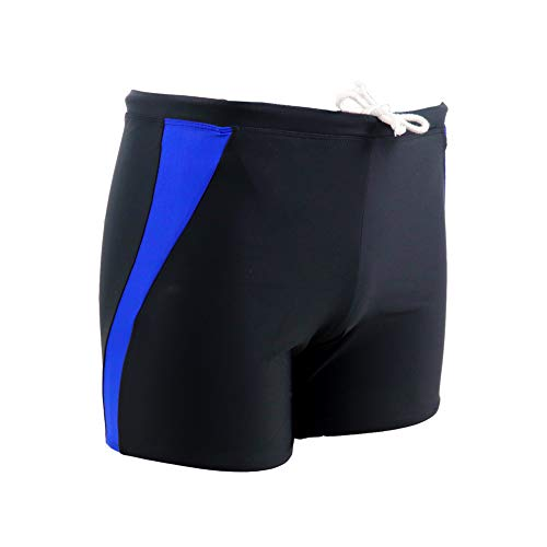 Jonathan Swim Men's Splice Boxer Swim Trunks Briefs Square Leg Quick Dry Board Short (XL, Black Navy Blue) ...