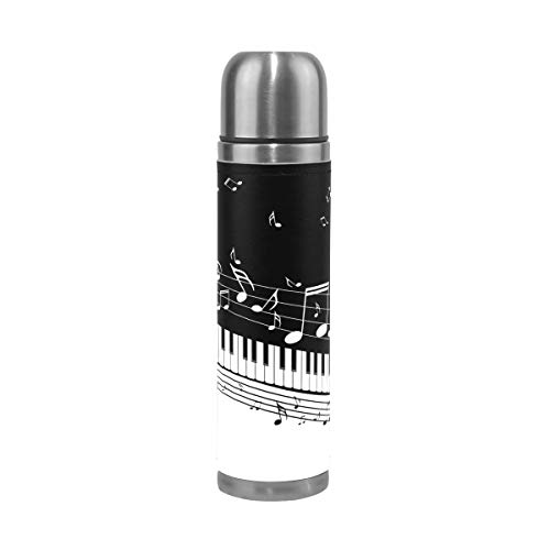Icyflower Thermos Flask Music Score Staff Musical Note Piano Pattern Double Wall Insulated Stainless Steel Vacuum Cup Water Bottle 17oz L size Black ()