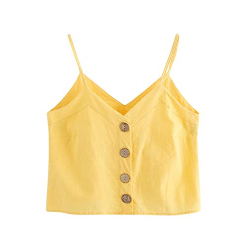 Big Sales for Women! Wintialy Fashion Womens Vest Single Breasted Button Sleeveless Tops Solid V-Neck Camis Yellow
