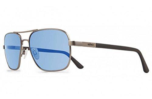 Revo Freeman RE 1012 00 GBL Polarized Rectangular Sunglasses, Gunmetal/Blue Water/Crystal Lens, 53 - Lens Blue Revo